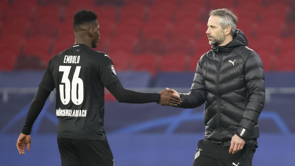 Breel Embolo (links) und Marco Rose - Borussia Mönchengladbach