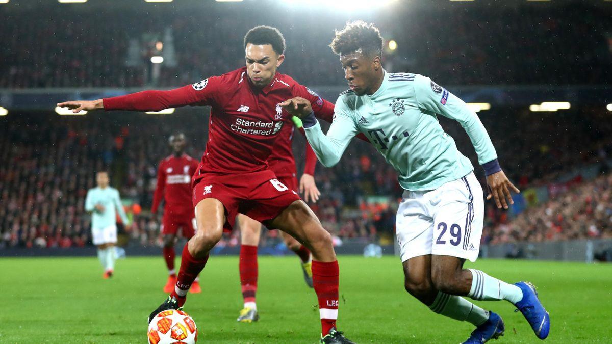 Kingsley Coman (r.) und Trent Alexander-Arnold bei Liverpool - FC Bayern