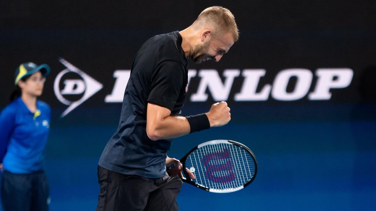 SYDNEY, AUSTRALIA - JANUARY 05: Dan Evans of Great Britain celebrates his win over David Goffin of Belgium during day three of the Group C singles match at the 2020 ATP Cup Tennis at Ken Rosewall Arena on January 05, 2020 in Sydney, Australia. (Photo by S