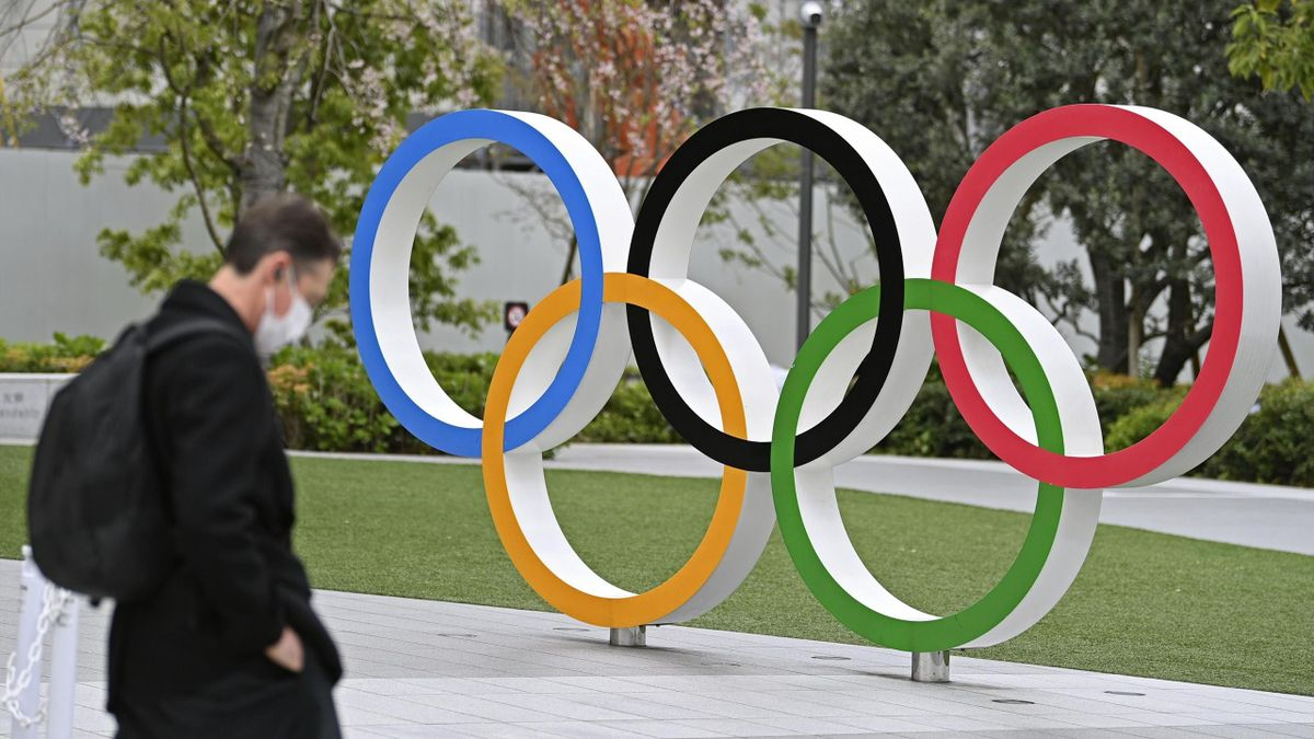 Photo taken April 6, 2021, shows the Olympic rings in Tokyo's Shinjuku Ward. North Korea said the same day that it will not take part in the Summer Olympics in Tokyo to protect its athletes from the novel coronavirus