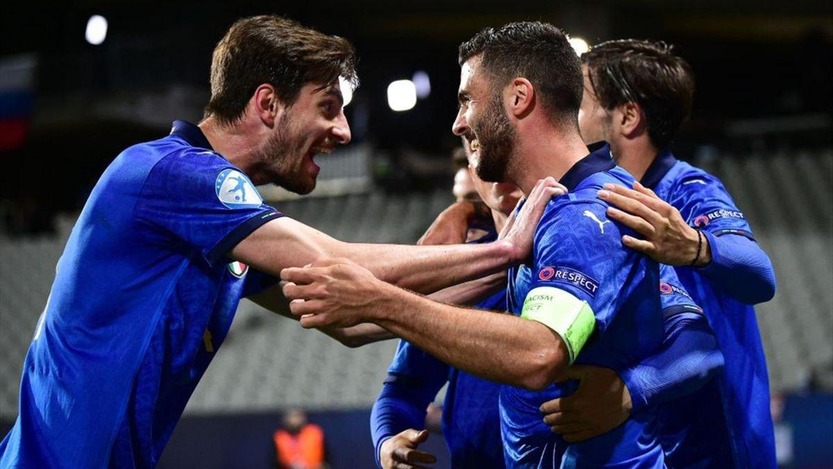Cutrone esulta per il gol in Italia-Slovenia - Europei Under 21 2021 - Getty Images
