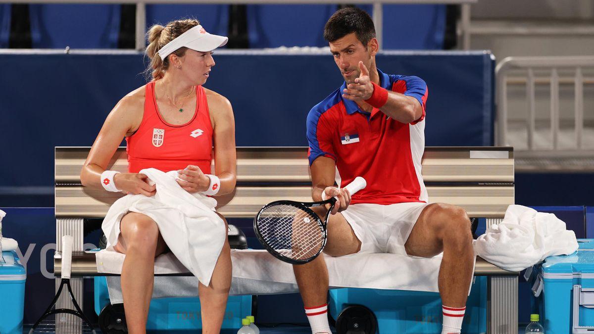 Nole Djokovic a colloquio con Stojanovic, Serbia, Olimpiadi, Getty Images