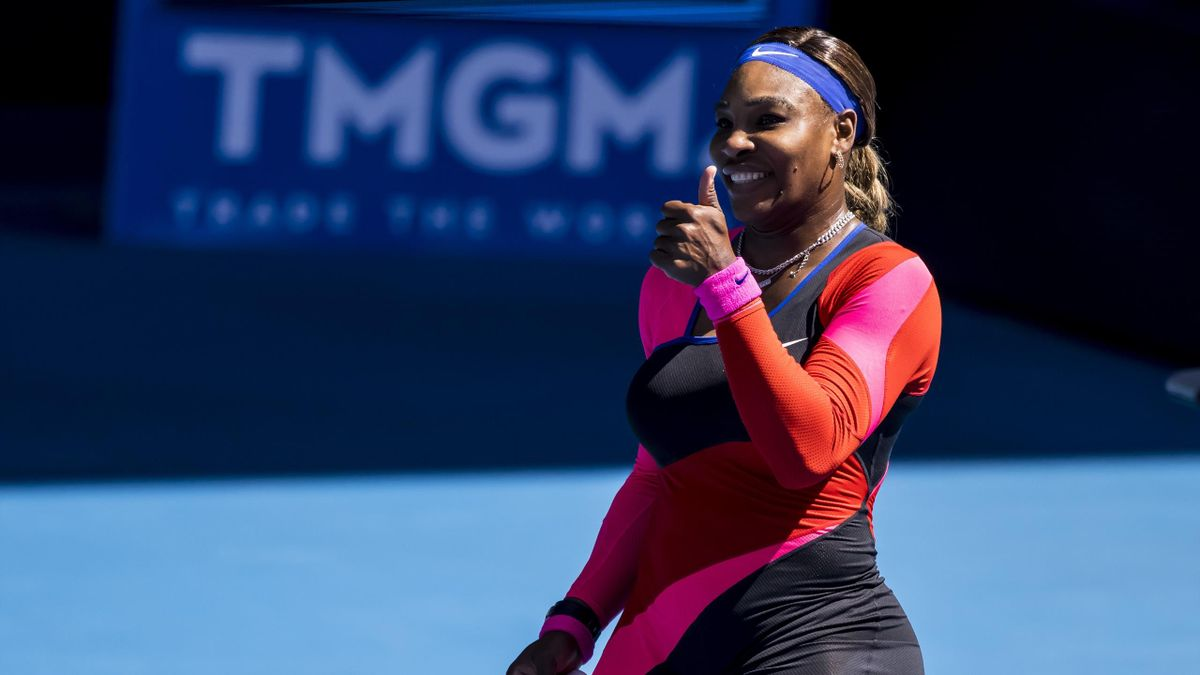 Serena Williams of the United States of America celebrates after winning her match by giving the broadcast camera a thumbs up during round 4 of the 2021 Australian Open on February 14 2020, at Melbourne Park
