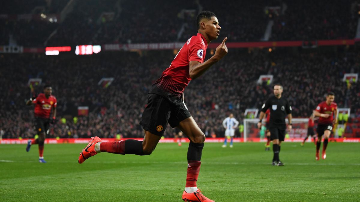 Marcus Rashford of Manchester United celebrates after scoring his sides second goal during the Premier League match between Manchester United and Brighton & Hove Albion at Old Trafford on January 19, 2019 in Manchester, United Kingdom.
