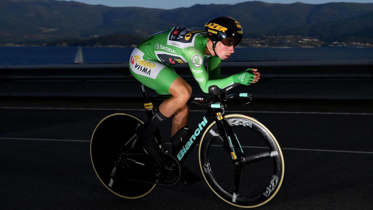 Primoz Roglic of Slovenia and Team Jumbo - Visma Green Points Jersey / during the 75th Tour of Spain 2020, Stage 13 a 33,7km Individual Time Trial stage from Muros to Mirador de Ézaro.