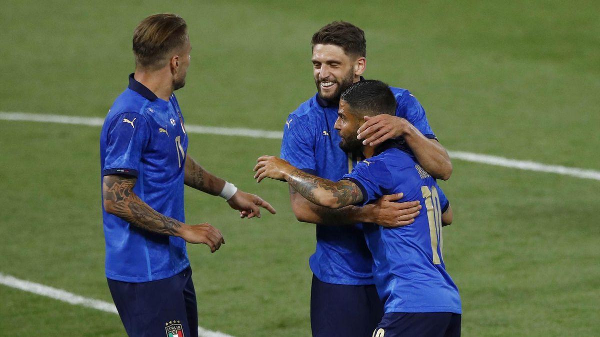 Insigne, Berardi e Immobile esultano per un gol in Italia-Repubblica Ceca - Amichevoli 2021