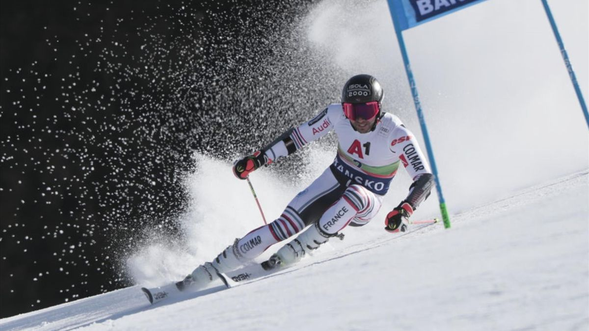 Mathieu Faivre of France in action during the Audi FIS Alpine Ski World Cup Men's Giant Slalom on February 27, 2021 in Bansko