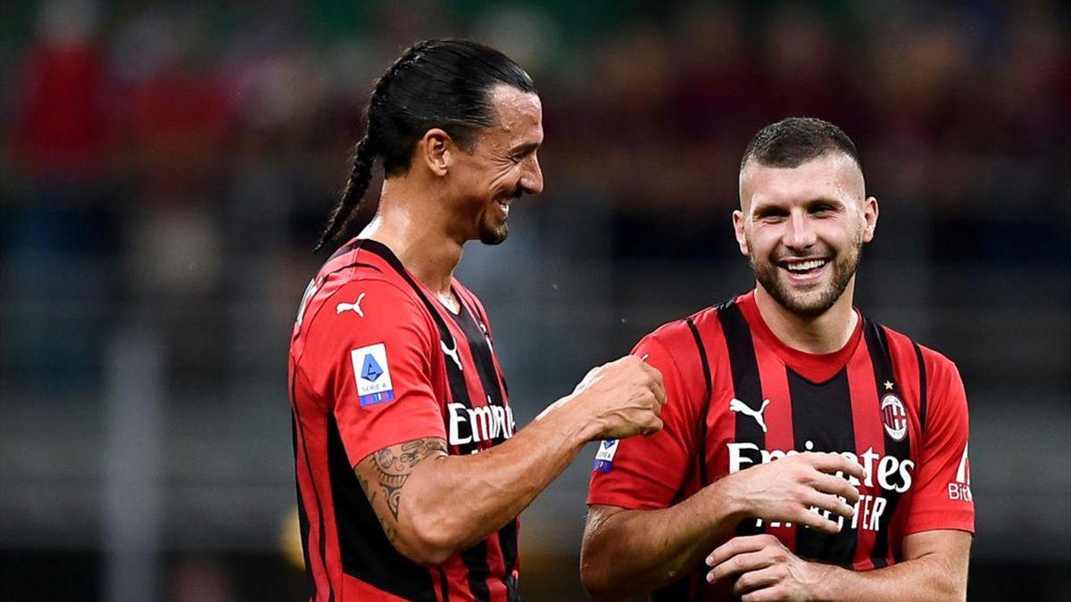 Zlatan Ibrahimovic e Ante Rebic - Milan-Lazio Serie A 2021-22