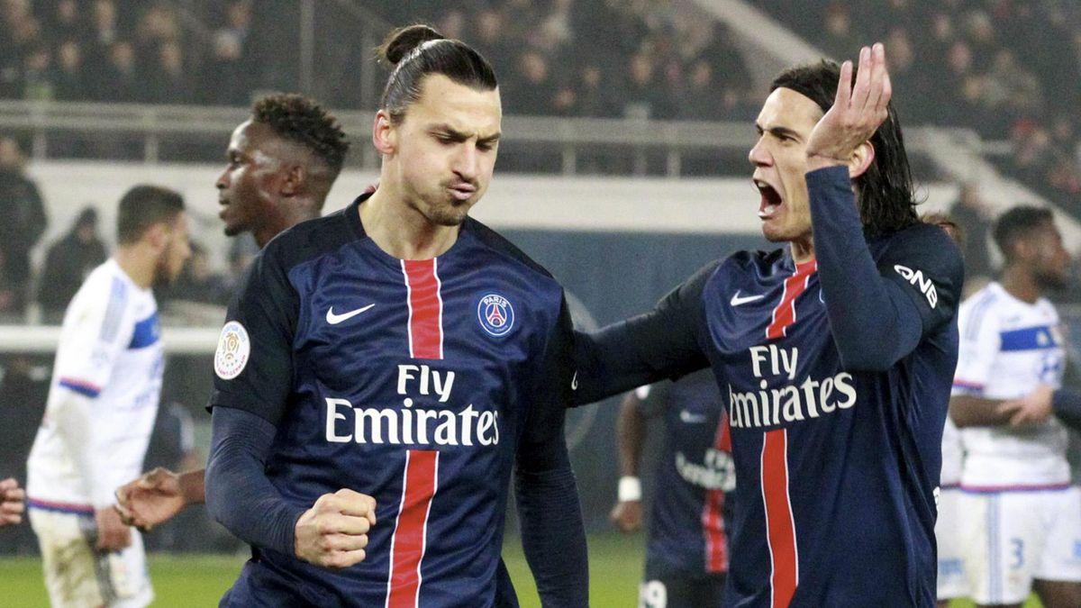 La joie de Zlatan Ibrahimovic et d'Edinson Cavani lors d'un PSG - Lyon, le 13 décembre 2015.