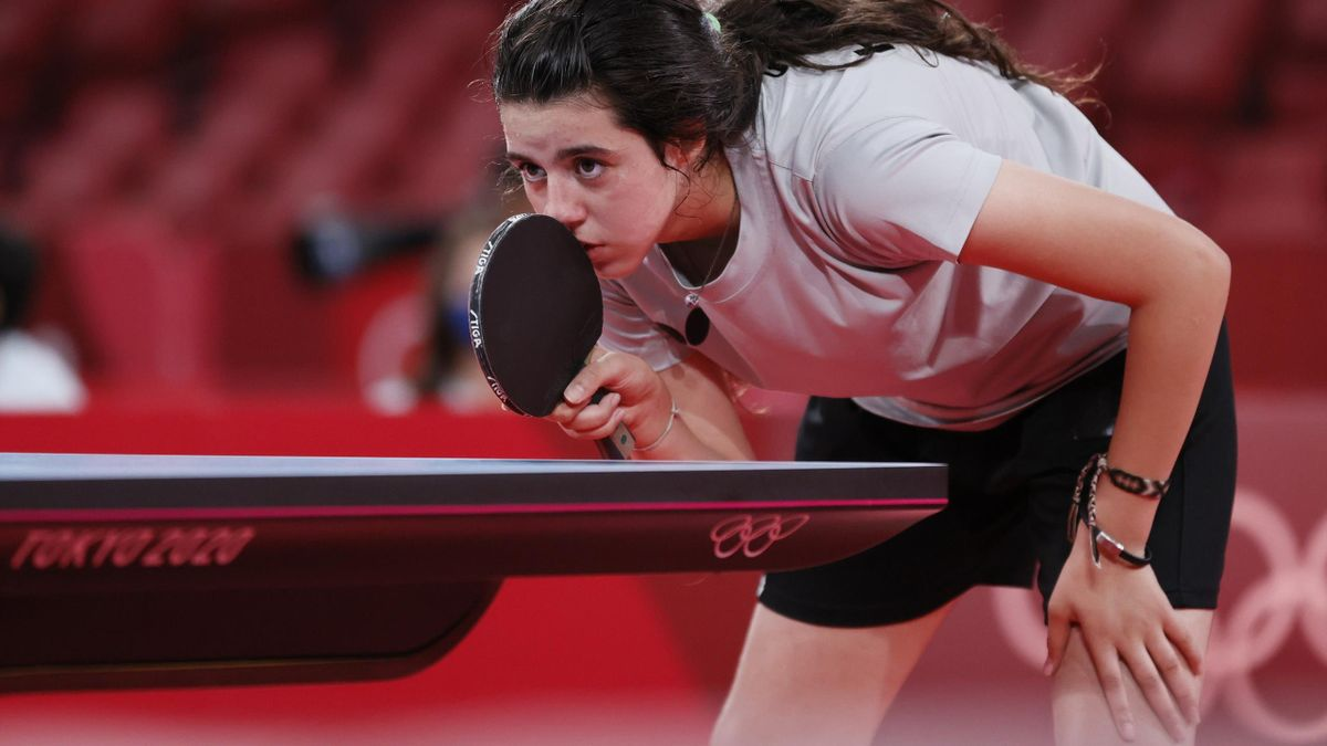 Hend Zaza during her match at the 2020 Tokyo Olympics