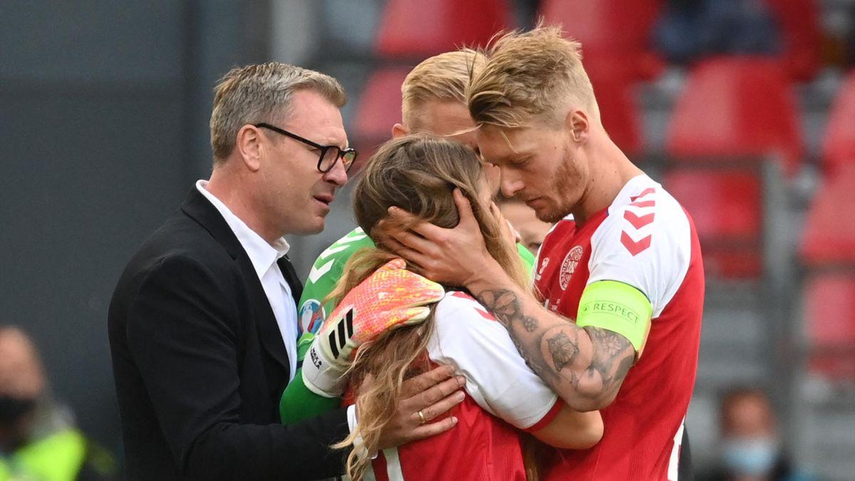 Simon Kjaer tröstet die Freundin von Christian Eriksen
