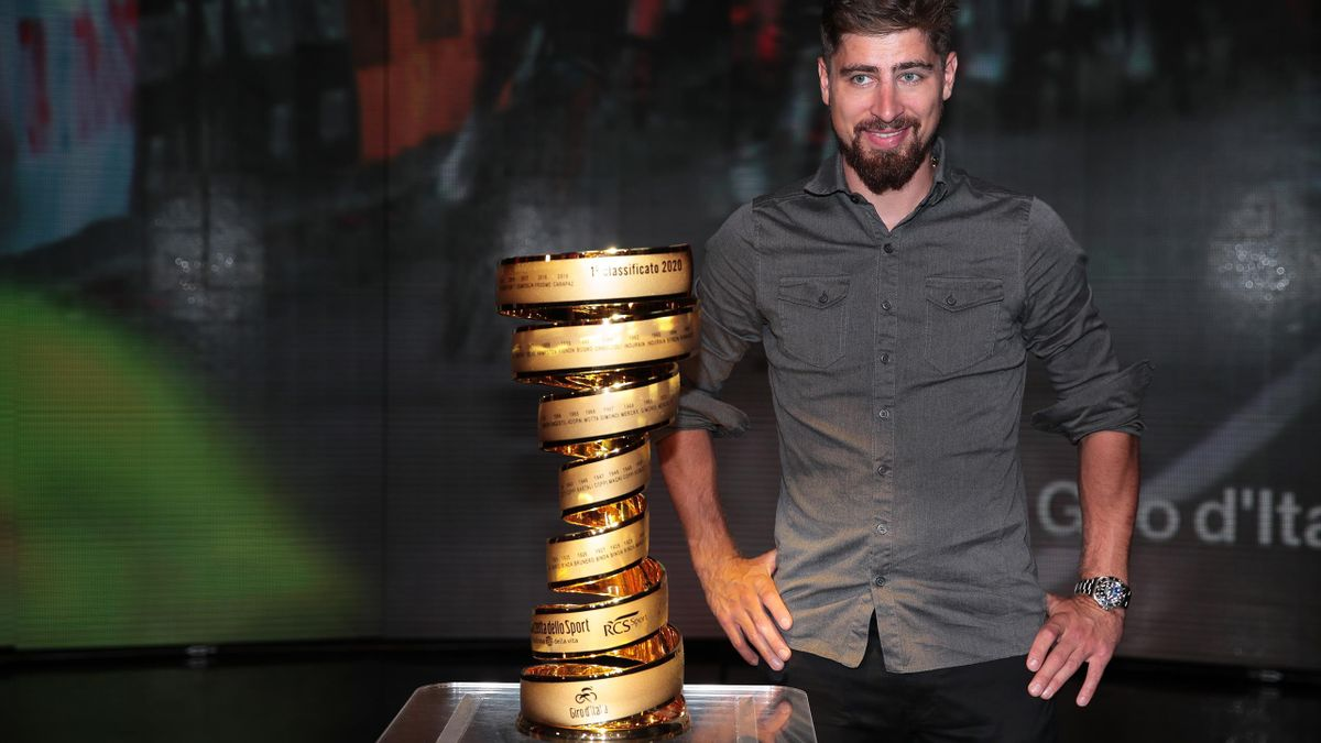 MILAN, ITALY - OCTOBER 24: Peter Sagan of Slovakia and Team Bora - Hansgrohe / Trofeo Senza Fine / Trophy / during the 103rd Giro d'Italia 2020, Route Presentation / #Giro / on October 24, 2019 in Milan, Italy. (Photo by Emilio Andreoli/Getty Images)