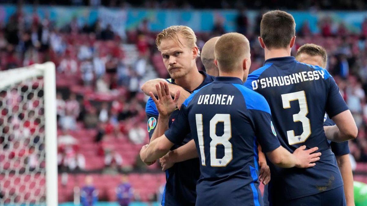 Pohjanpalo a segno durante Danimarca-Finlandia - Europei 2021