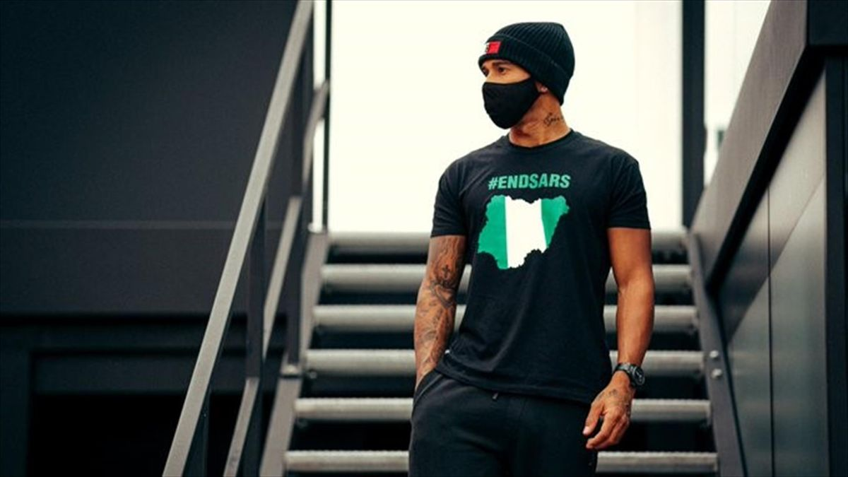 Lewis Hamilton wearing an '#EndSARS' T-shirt (@LewisHamilton)