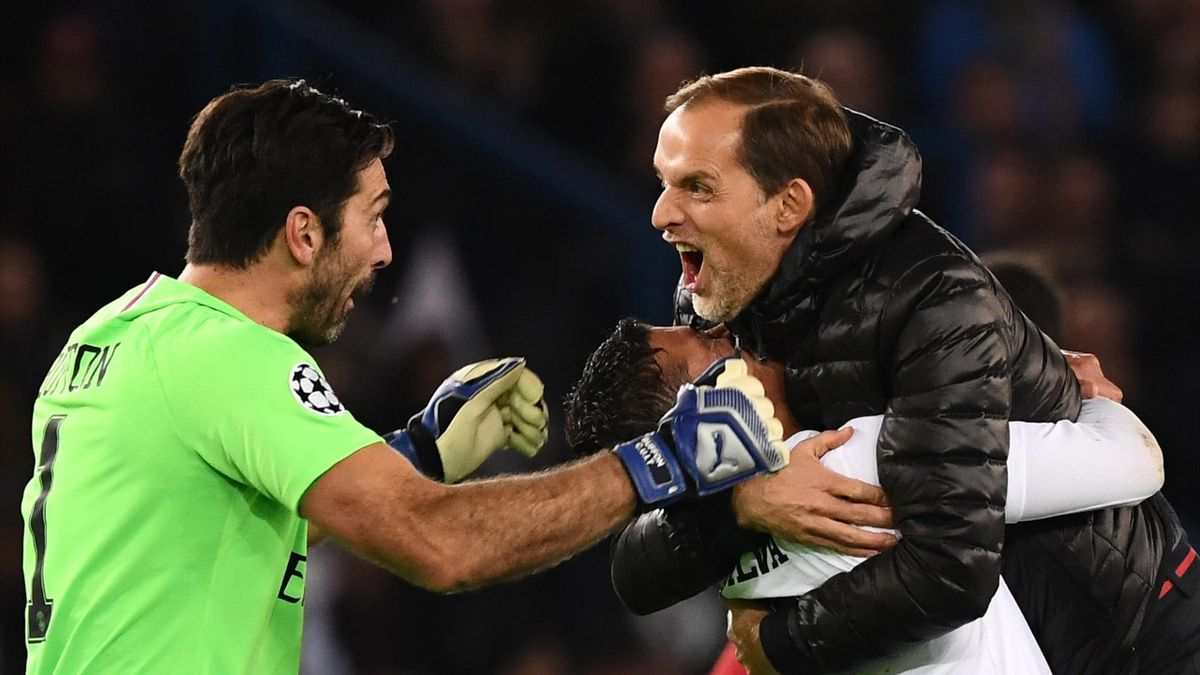 Paris Saint-Germain's Italian goalkeeper Gianluigi Buffon, Paris Saint-Germain's Brazilian defender Thiago Silva and Paris Saint-Germain's German coach Thomas Tuchel celebrate after winning at the end of the UEFA Champions League Group C football match be