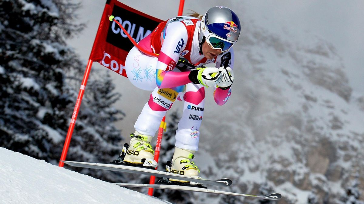 Lindsey Vonn during World Cup downhill in Cortina d'Ampezzo on January 18, 2015