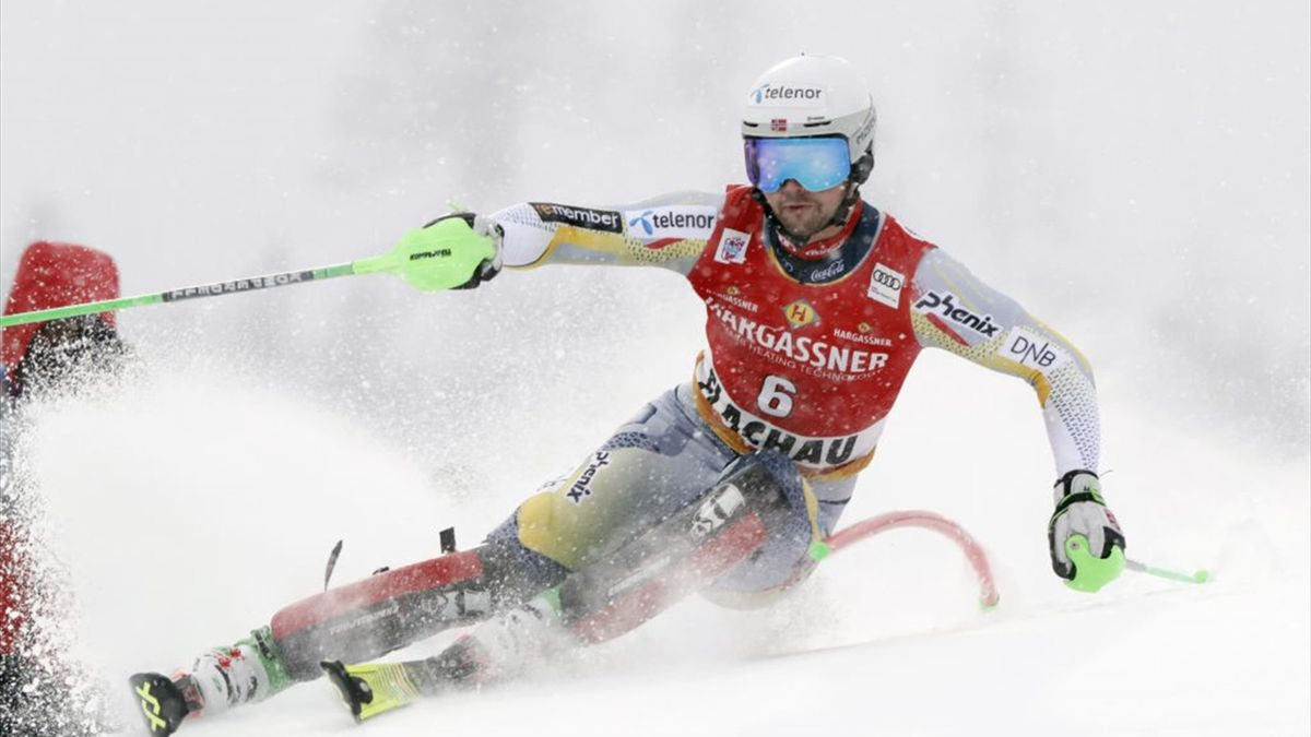 Sebastian Foss-solevaag of Norway in action during the Audi FIS Alpine Ski World Cup Men's Slalom in January 17, 2021 in Flachau