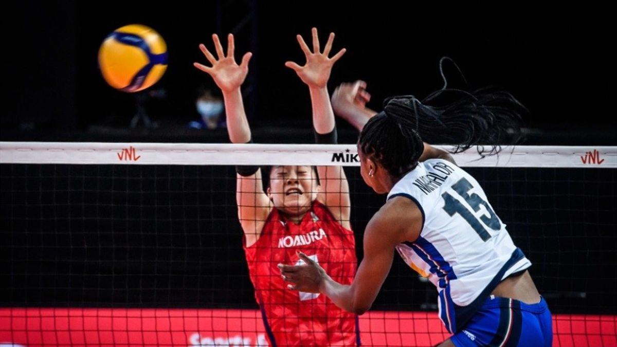 Sylvia Nwakalor in azione durante Italia-Giappone - Nations League 2021 - credit photo @Federvolley.it
