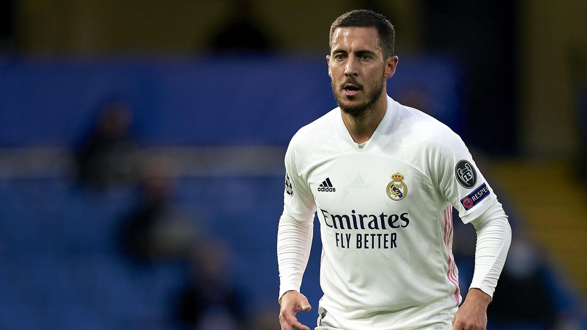 Eden Hazard of Real Madrid looks on during the UEFA Champions League Semi Final Second Leg match between Chelsea and Real Madrid at Stamford Bridge on May 05, 2021 in London, England.