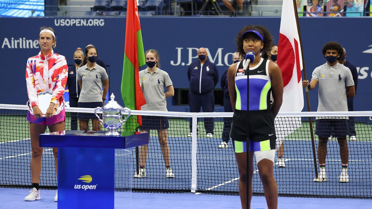 Naomi Osaka (R) of Japan speaks during the trophy ceremony after winning her Women's Singles final match against Victoria Azarenka (L) of Belarus on Day Thirteen of the 2020 US Open at the USTA Billie Jean King National Tennis Center