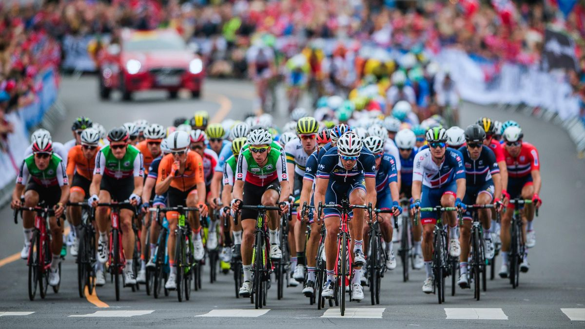 Cyclists compete during the men elite road race of the UCI Cycling Road World Championships in Bergen, on September 24, 2017.