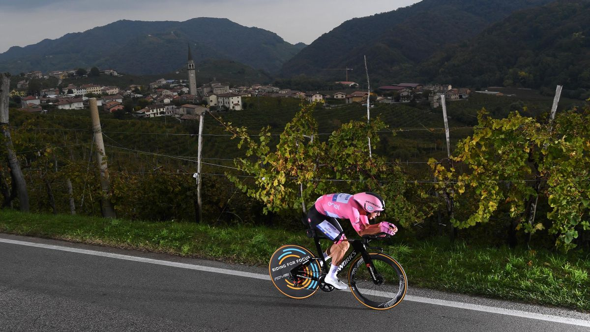 Joao Almeida of Portugal and Team Deceuninck - Quick-Step Pink Leader Jersey / Santo Stefano Village / Vineyards / Landscape / during the 103rd Giro d'Italia 2020, Stage 14 a 34,1km individual Time Trial