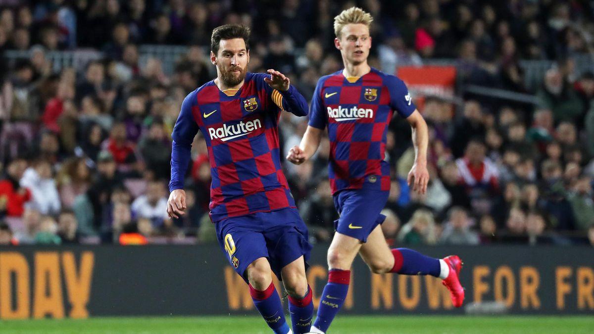 Gegen zusammen auf Titeljagd beim FC Barcelona: Frenkie de Jong (rechts) und Lionel Messi