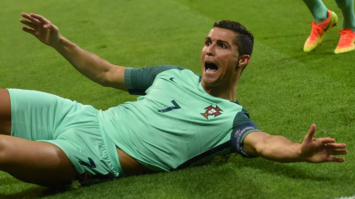 Portugal's forward Cristiano Ronaldo celebrates after scoring a goal during the Euro 2016 semi-final football match between Portugal and Wales at the Parc Olympique Lyonnais stadium in Décines-Charpieu, near Lyon, on July 6, 2016