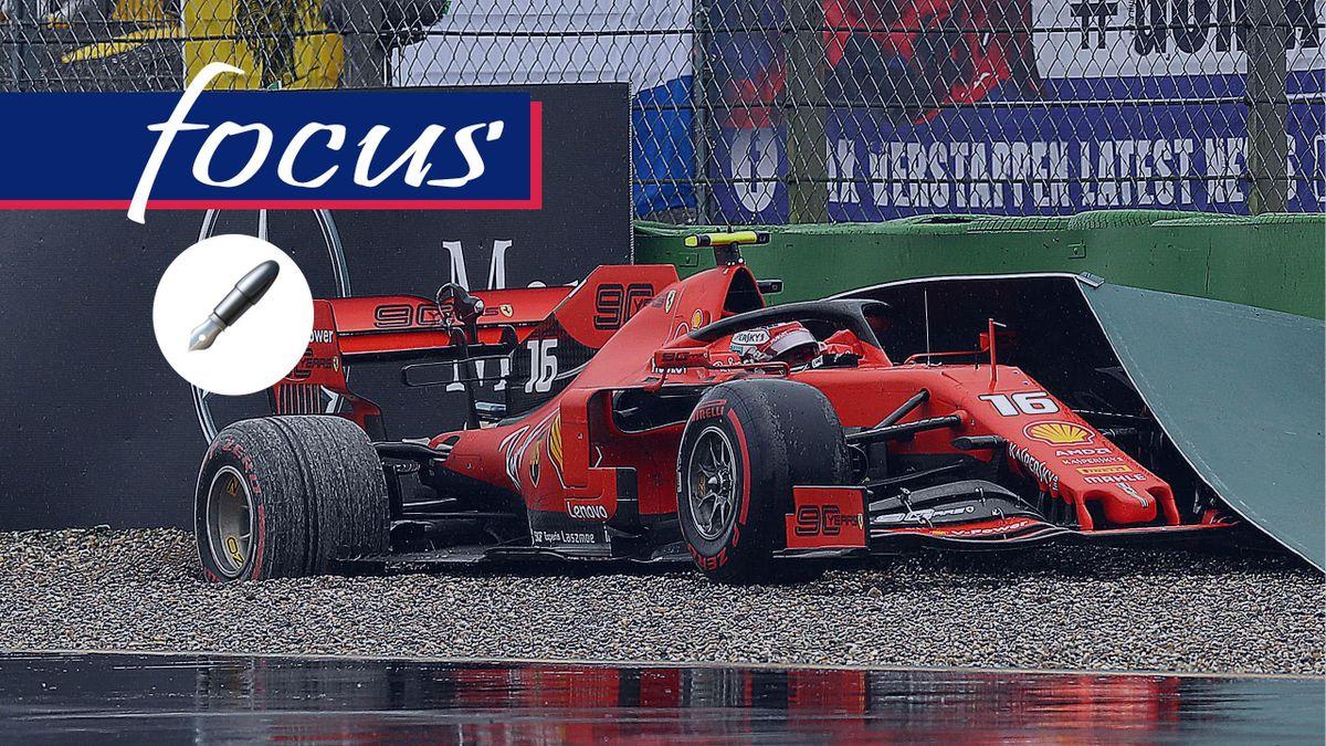 La Ferrari di Charles Leclerc contro le barriere