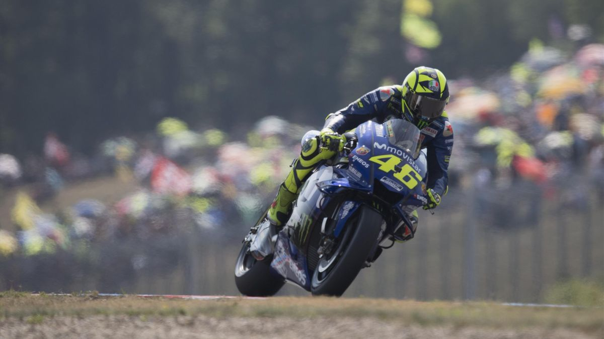 Valentino Rossi of Italy and Movistar Yamaha MotoGP heads down a straight during the MotoGp of Czech Republic - Qualifying at Brno Circuit on August 4, 2018 in Brno, Czech Republic.