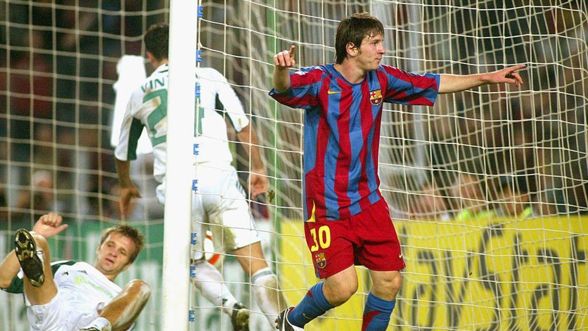 Lionel Messi, în Barcelona - Panathinaikos 5-0, în UEFA Champions League (2005)