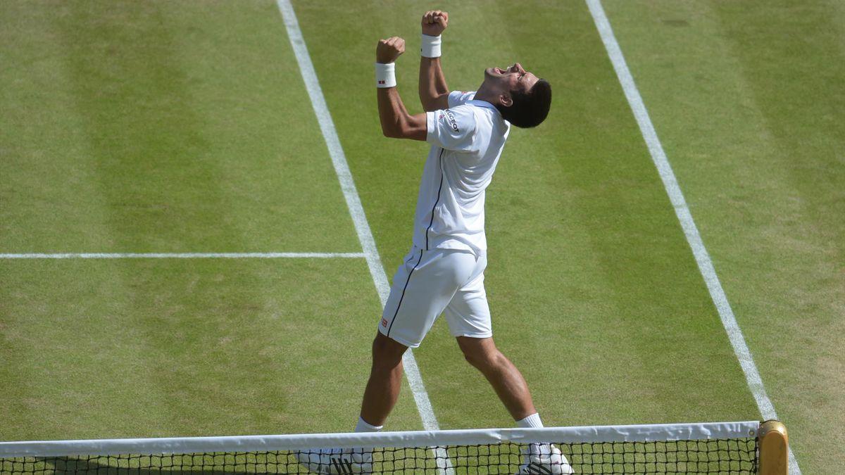 Novak Djokovic, après sa victoire sur Grigor Dimitrov Wimbledon 2014
