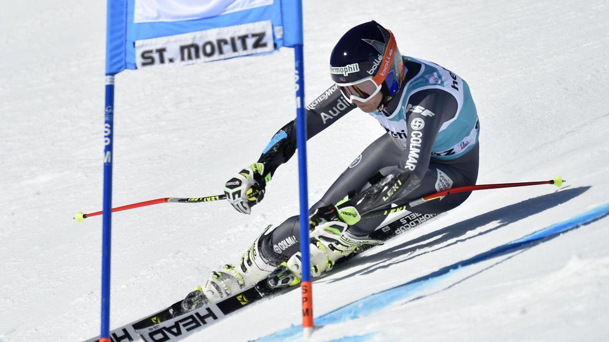 Tania Barioz lors de la première manche du géant des finales de Saint-Moritz