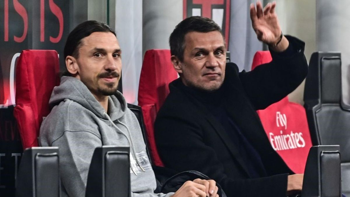 Maldini in panchina con Ibrahimovic durante Milan-Udinese - Serie A 2020/2021 - Getty Images