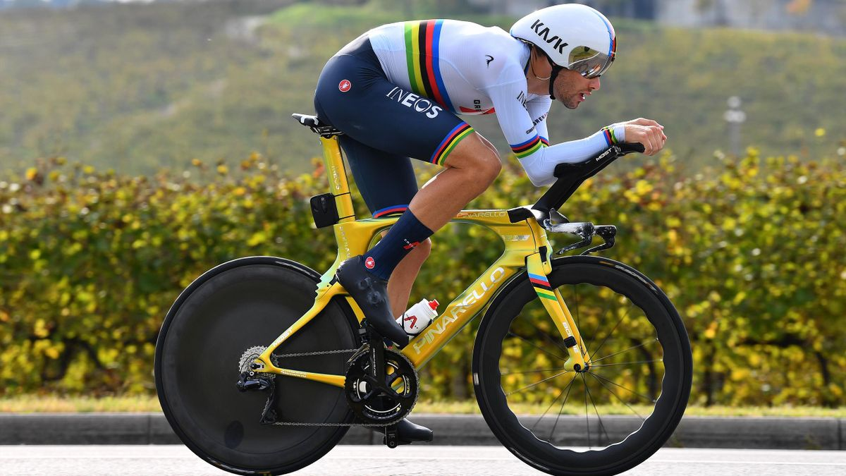 Filippo Ganna of Italy and Team INEOS Grenadiers World Champion Jersey / during the 103rd Giro d'Italia 2020, Stage 14 a 34,1km individual Time Trial