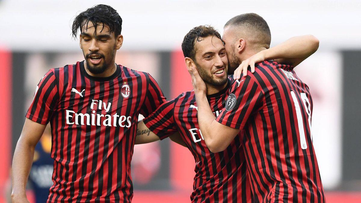Paquetà, Çalhanoglu, Rebic - Milan-Roma - Serie A 2019/2020 - Imago