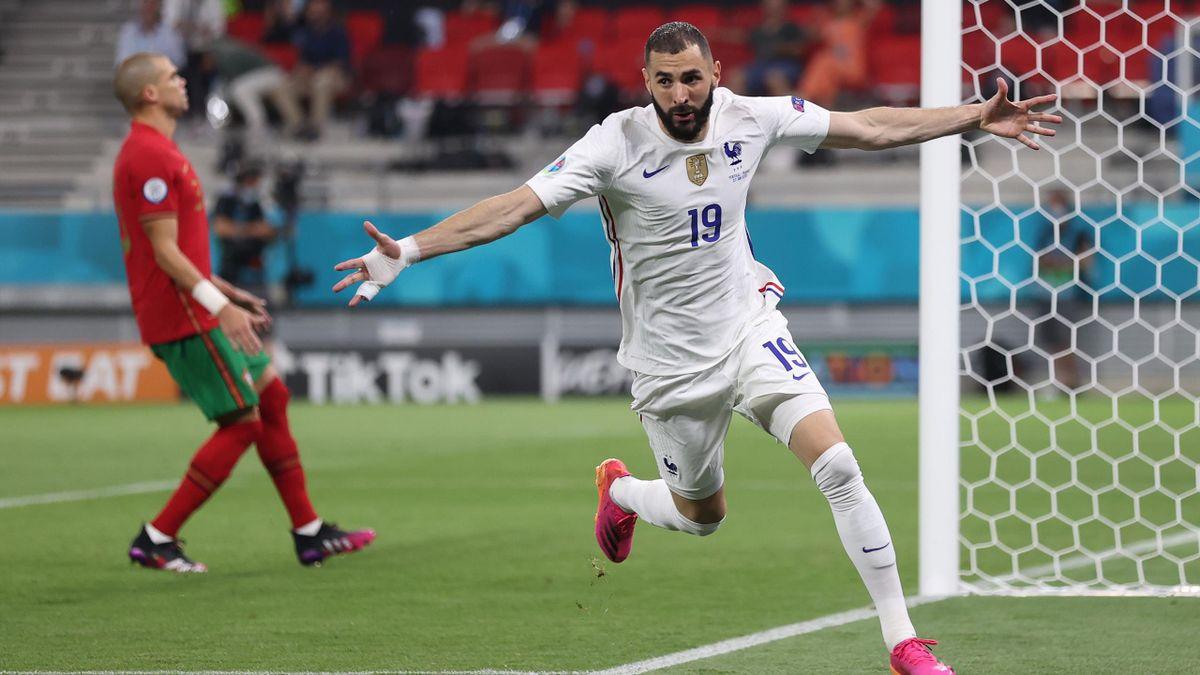 Karim Benzema esulta per il gol durante Francia-Portogallo - Europei 2021