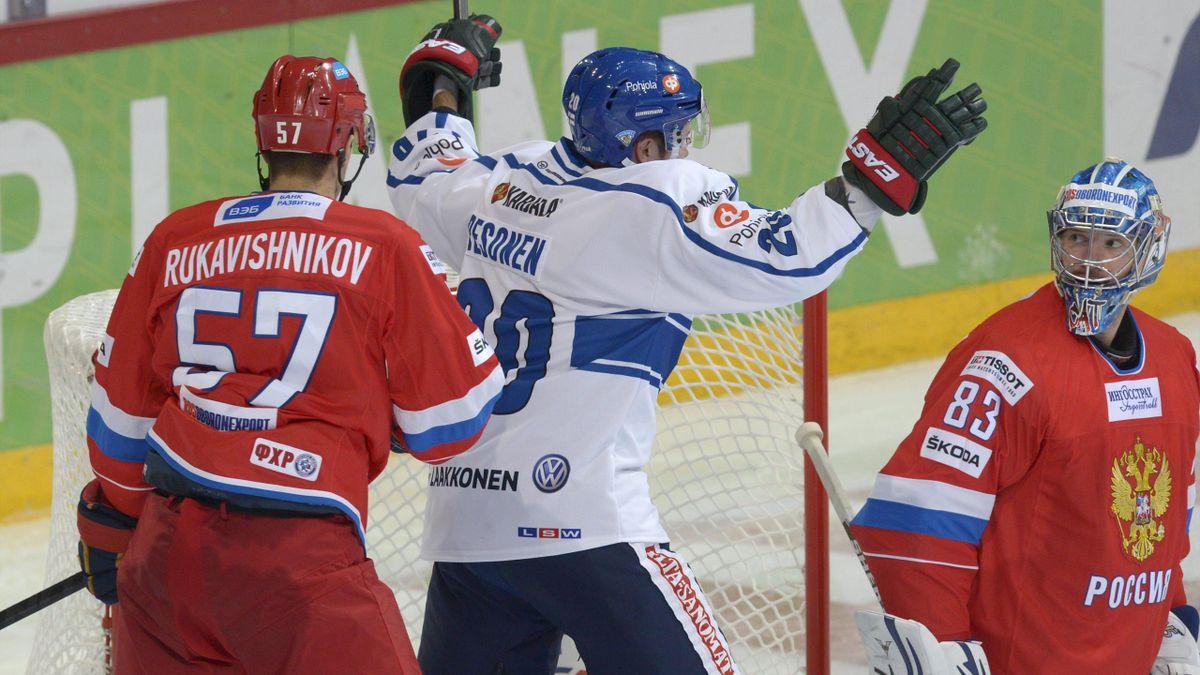 Finland's Janne Pesonen celebrates his game-tying 2-2 goal against Russian goalie Vasily Koshechkin during ice hockey Euro Hockey Tour match Russia vs Finland in Helsinki, Finland on Saturday, on November 8, 2014.