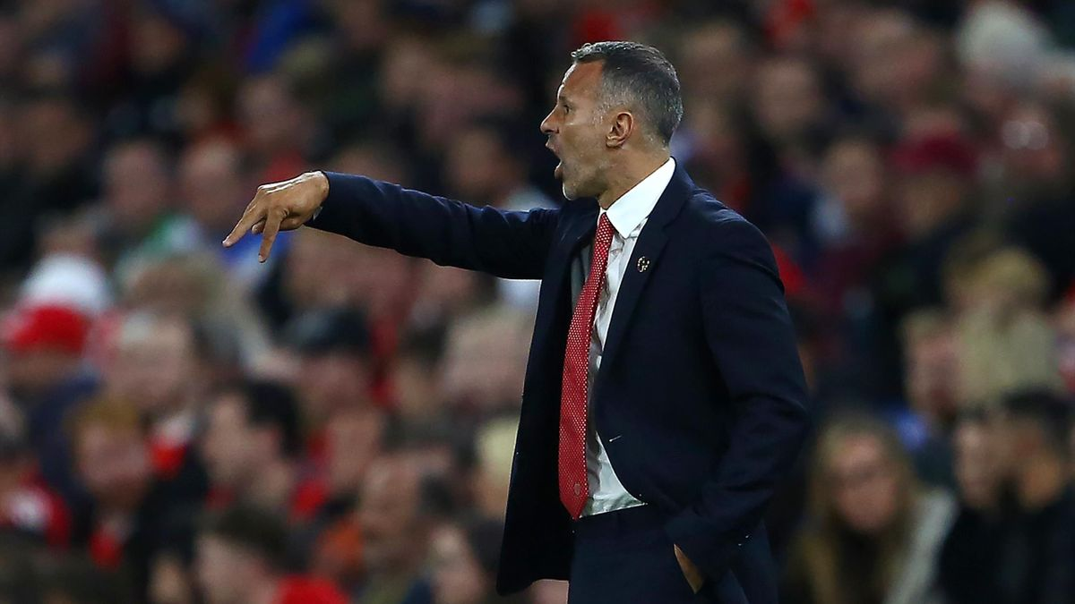 Wales' coach Ryan Giggs shouts instructions to his players from the touchline during the UEFA Euro 2020 Qualifying