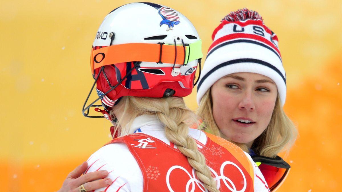 Mikaela Shiffrin huggs Lindsey Vonn