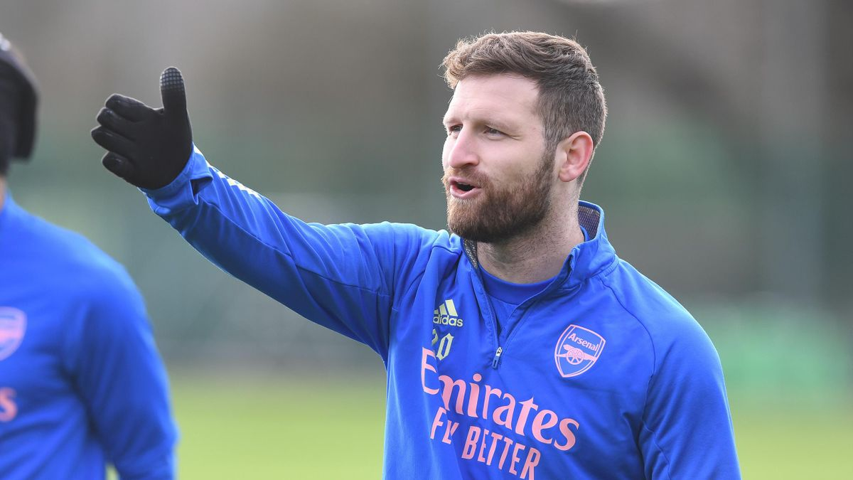 Shkodran Mustafi of Arsenal during a training session at London Colney