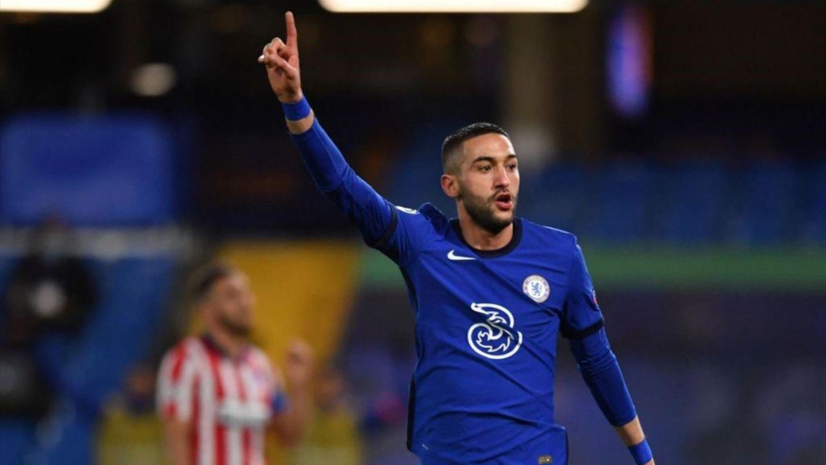 Ziyech esulta durante Chelsea-Atlético Madrid - Champions League 2020/2021 - Getty Images