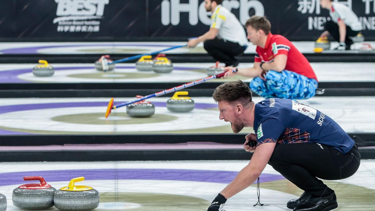 BEIJING, CHINA - MAY 11: Ross Paterson of Scotland shouts during the Men's Curling round robin match between Scotland and Canada Team 2 on the Day 4 of the 2018-2019 WCF Curling World Cup Grand Final at Beijing Shougang Ice Hockey Stadium on May 11, 2019