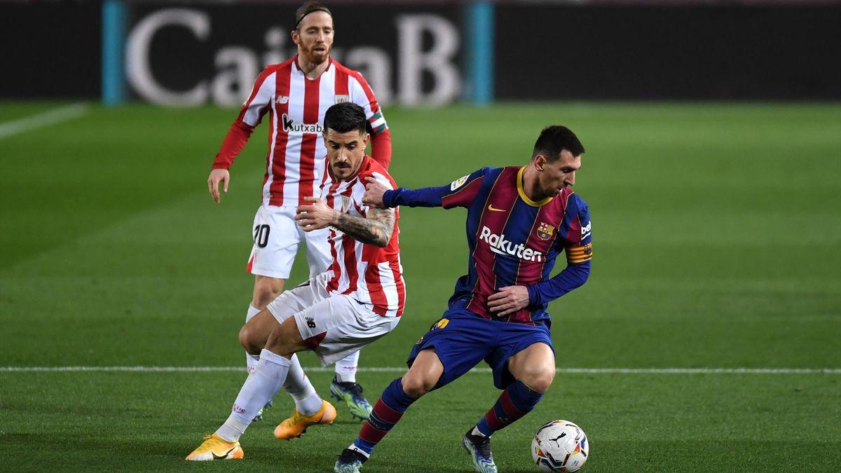 Messi marcato da Yuri Berchiche, Barcellona-Athletic Bilbao