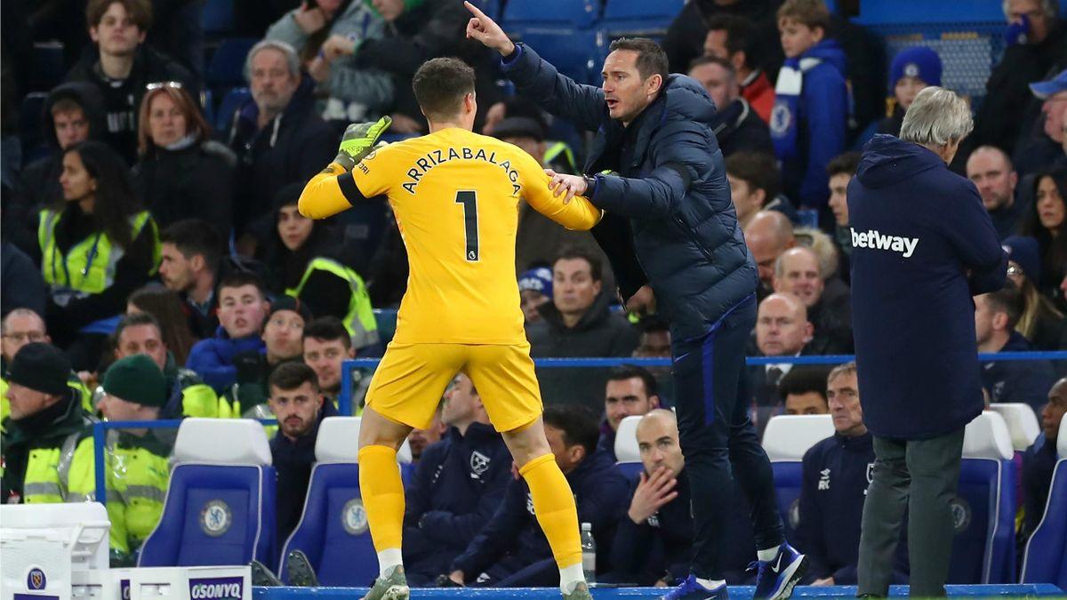 Kepa Arrizabalaga and Frank Lampard (Chelsea)