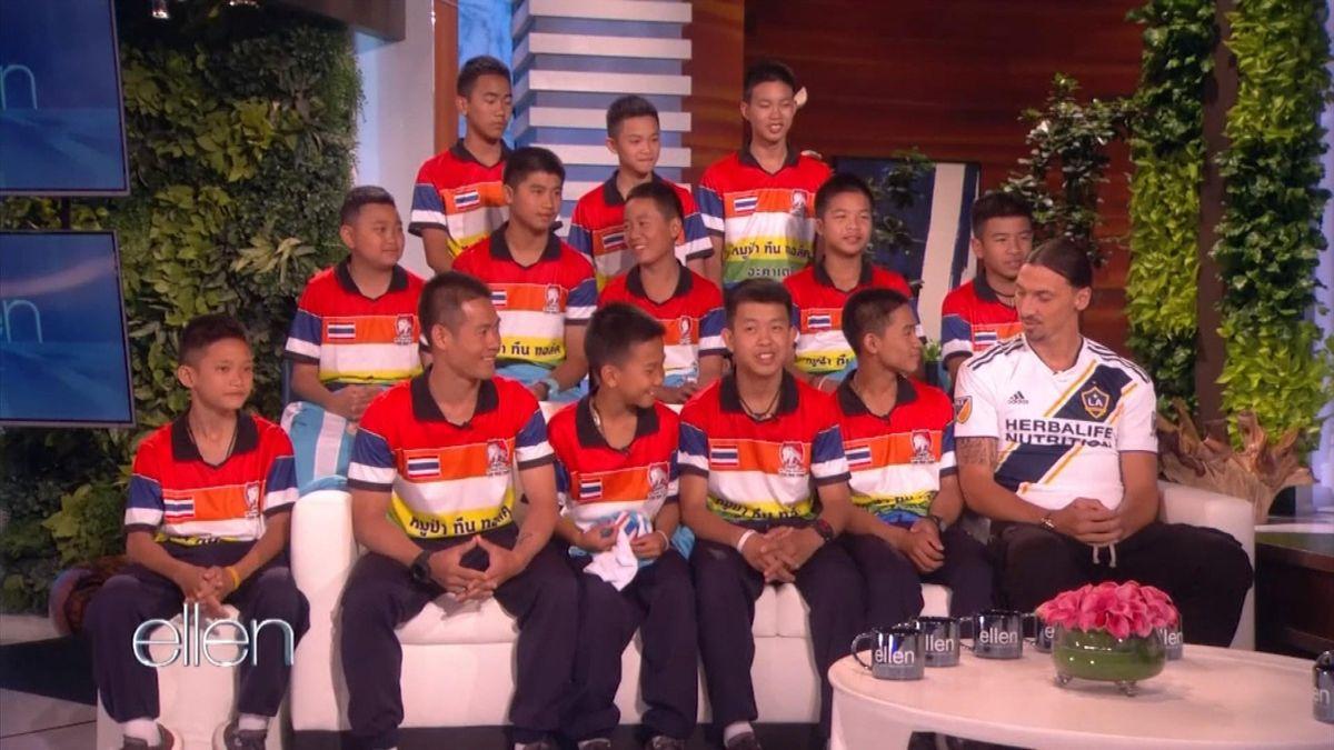 Zlatan Ibrahimovic joins Thai boys on Ellen DeGeneres' talk show