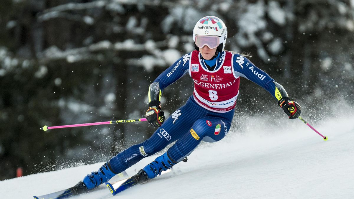 Marta Bassino of Italy competes during the first run in the 57th Golden Fox Maribor - Audi FIS Ski World Cup Championships on January 16, 2021 in Kranjska Gora, Slovenia.