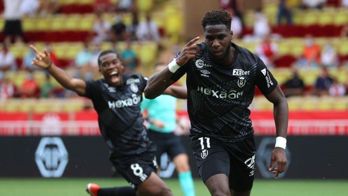 Boulaye Dia buteur pour Reims à Monaco en Ligue 1 le 23 août 2020