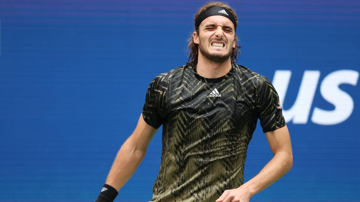 Stefanos Tsitsipas of Greece reacts after a lost point against Carlos Alcaraz of Spain during his Men's Singles third round match on Day Five at USTA Billie Jean King National Tennis Center on September 03, 2021 in New York City