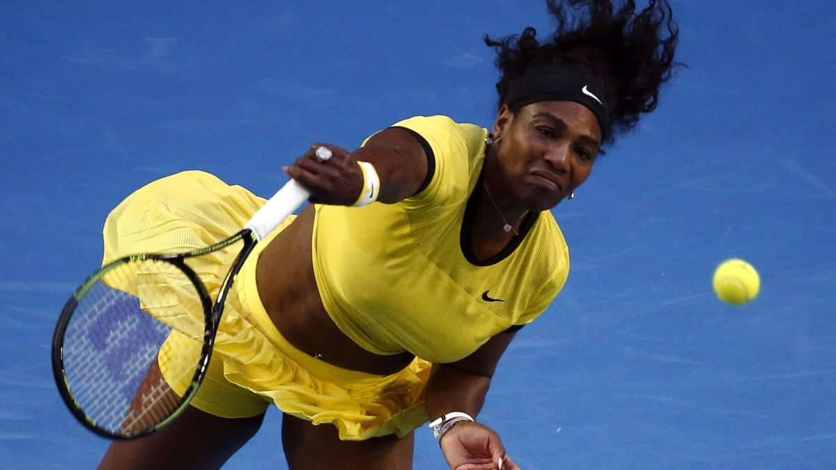 Serena Williams of the U.S. serves during her third round match against Russia's Daria Kasatkina at the Australian Open tennis tournament at Melbourne Park, Australia, January 22, 2016